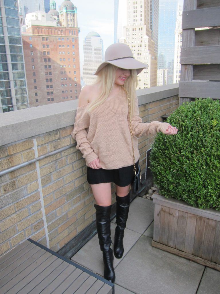 nyc rooftop, off shoulder sweater