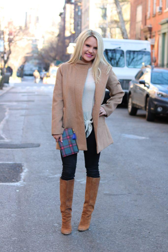 tan coat and tan boots