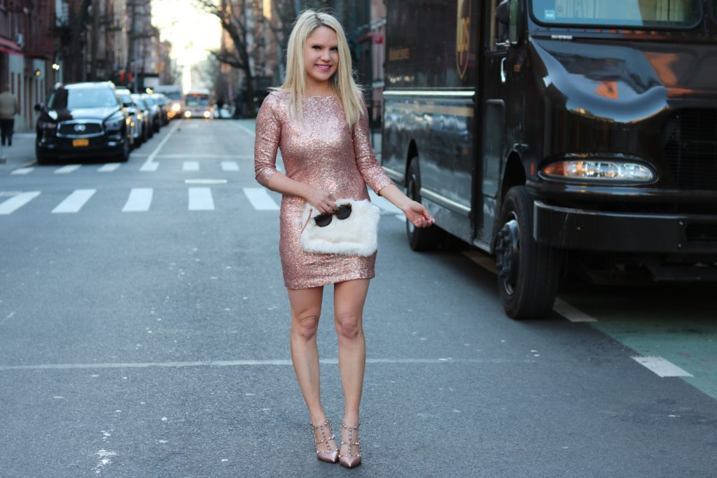 sequin dress, furry clutch